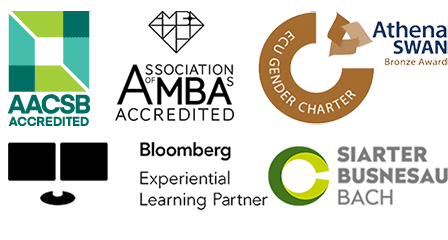 AASCB Accredited, AMBA Accredited, Athena Swan Bronze Award, Bloomberg Experimental Learning Partner and Small Business Charter logos