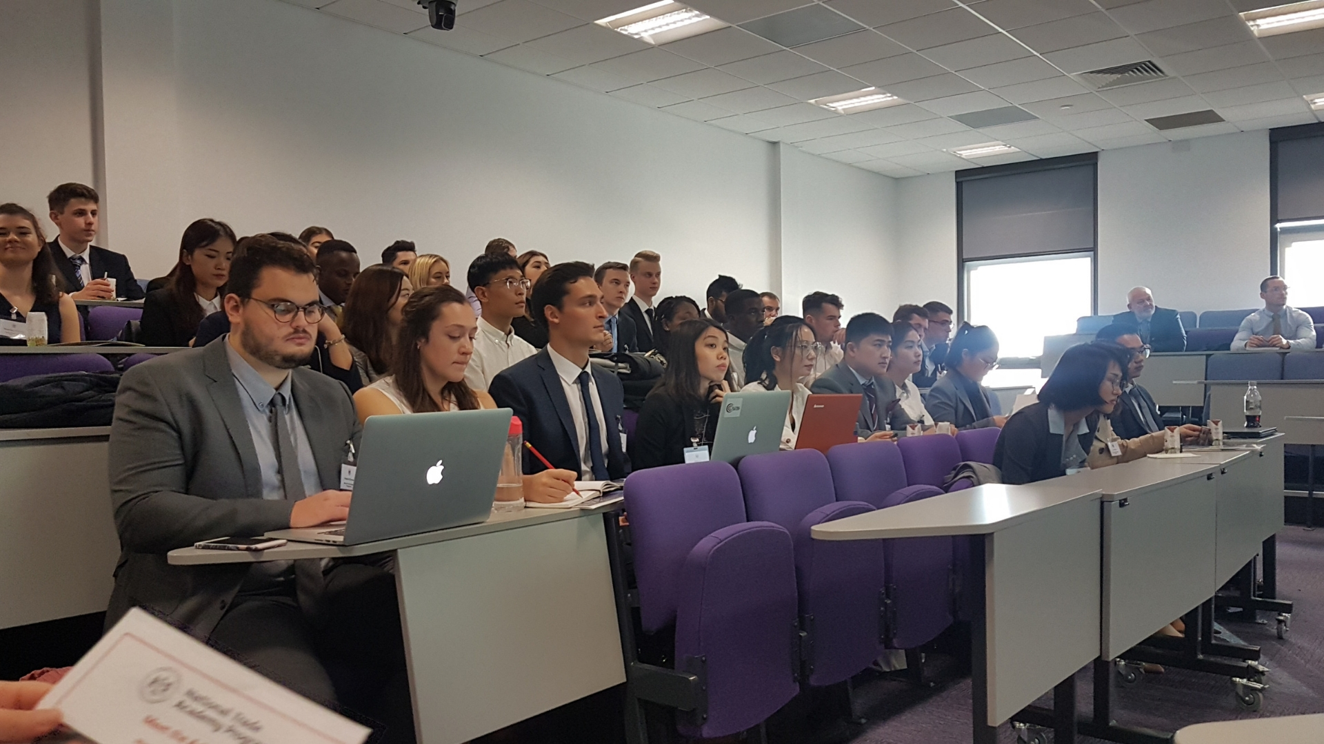 Students from Cardiff, Swansea, Neath and Aberystwyth learning about the international trade environment