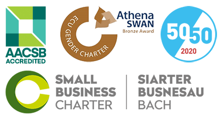 AASCB Accredited, ECU Gender Charter, Athena Swan Bronze Award, 50/50 and Small Business Charter logos