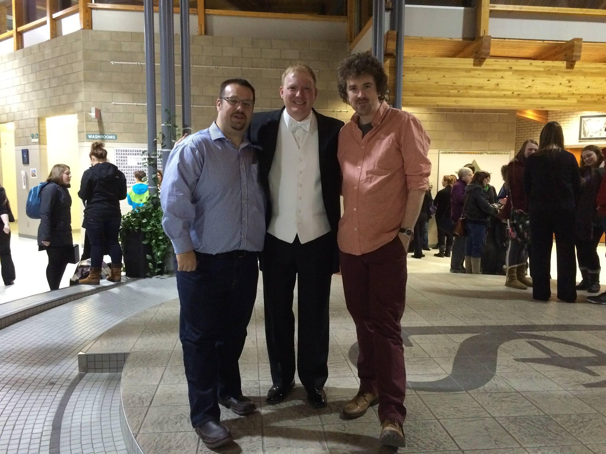 Tom Davoren, British composer Peter Meechan and Dr Darrin Oehlerking, conductor at the University of Saskatchewan